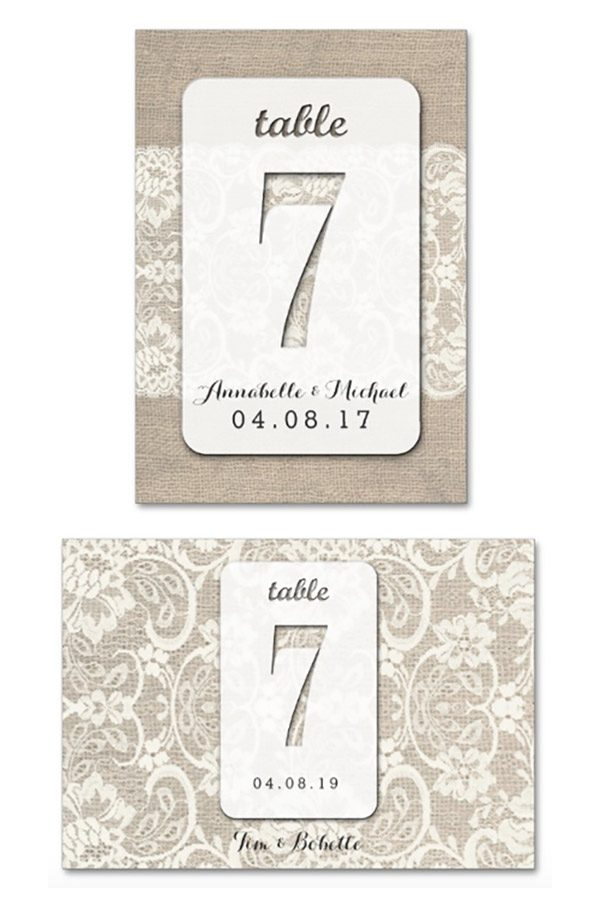 If you are looking for inexpensive table numbers you don't have to DIY, these are perfect. A dollar each and customizable (The top one is the design as-is. I did the bottom one in their designer by changing the layout and resizing. You can customize, then they print them on paper.) These rustic burlap look table numbers are so cheap to buy! Look at the third listing on the page for more info or to purchase. #MyOnlineWeddingHelp #RusticWedding #BurlapWedding #TableNumbers