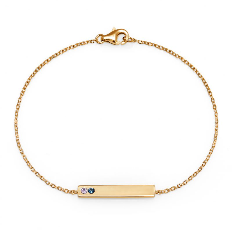 2 Stone Birthstone Gold Name Bar Bracelet