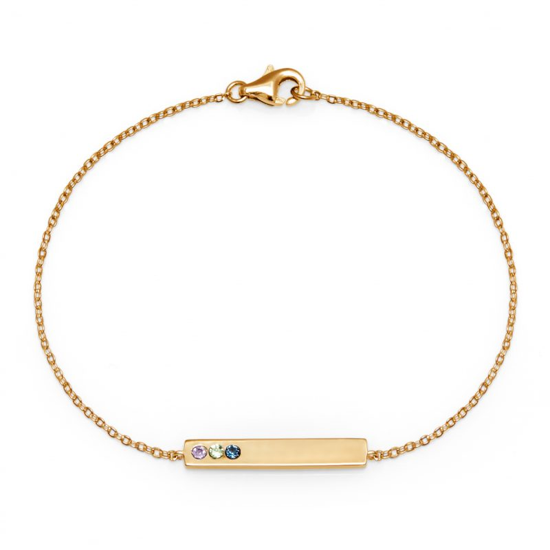 3 Stone Birthstone Gold Name Bar Bracelet
