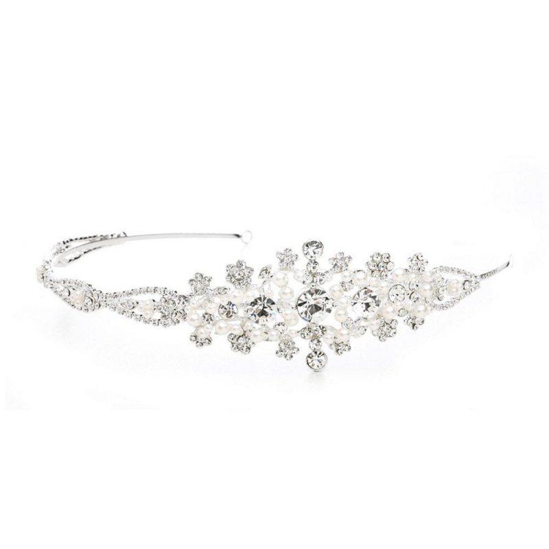 Crystal Wedding Headband or Tiara with Side Floral Design