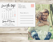Calendar Save The Date Postcard, Postcard Save the Date, Photograph Save the Date, Save the Date Postcard with Photo, Unique Save the Date