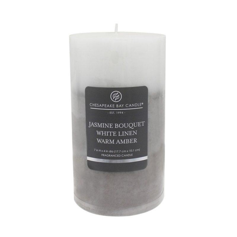 Pillar Candle Jasmine Bouquet/White Linen/Warm Amber 7 - Chesapeake Bay Candle, Gray White