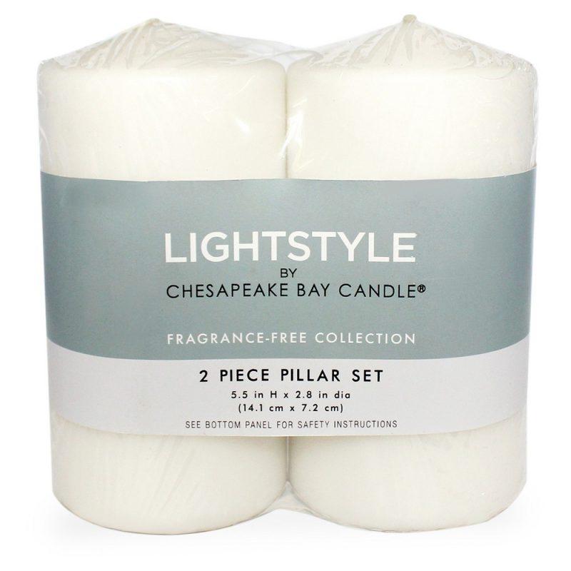 "Fragrance Free Pillar Candle White 2pk - 3""x6"" - Chesapeake Bay Candle"