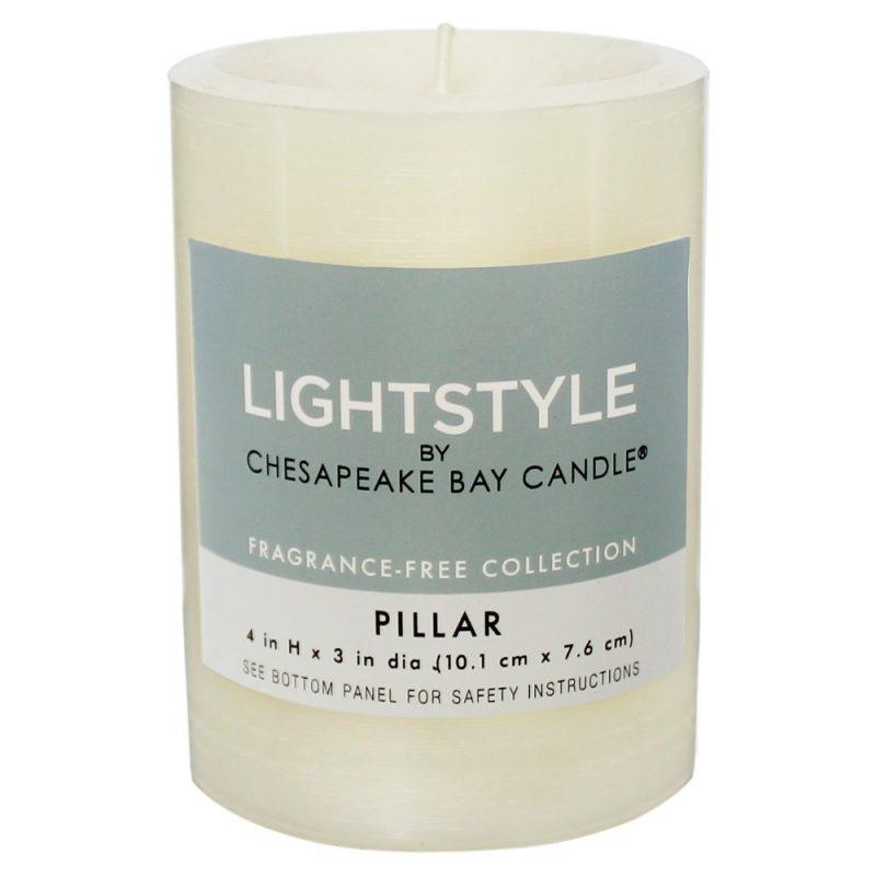 "Fragrance Free Pillar Candle - Cream - 3""x4"" - Chesapeake Bay Candle, Beige"