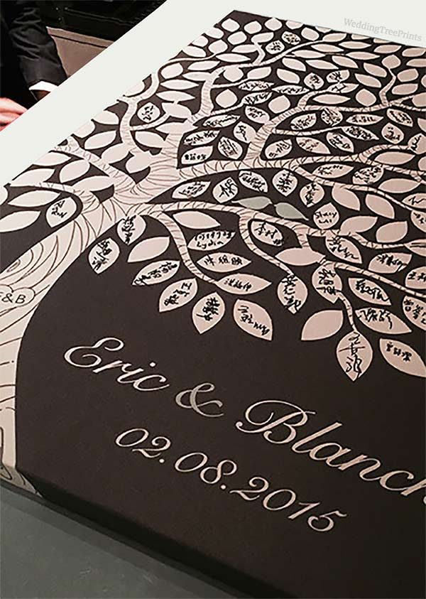 Rustic tree guest book alternative on canvas. This one's an art print on a canvas gallery wrap. Your guests can use a marker to sign their names on the leaves. Don't miss the cute little love birds. Look at the second of third listing on the page for more info or to buy it. #GuestBookAlternative #RusticWedding #MyOnlineWeddingHelp #WeddingGuestBook