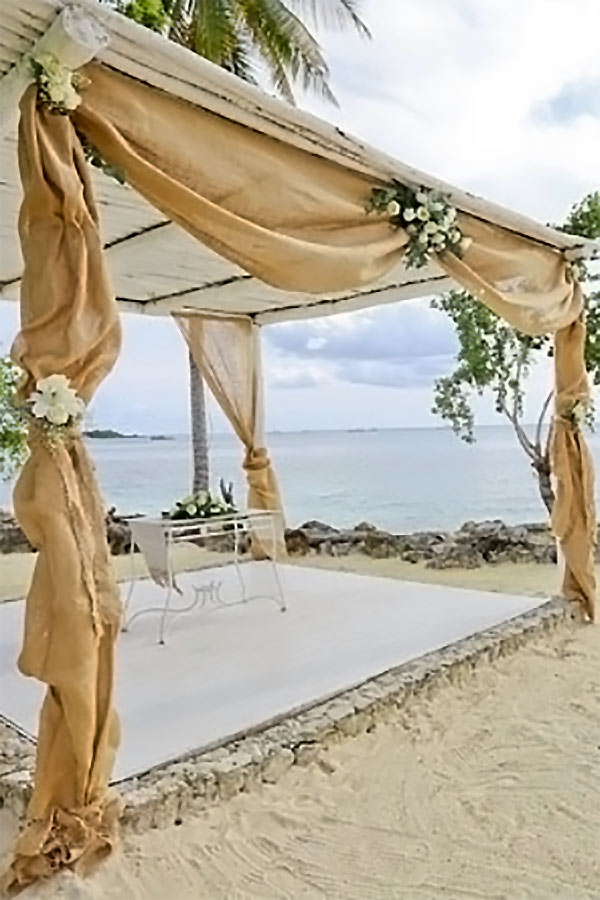 Burlap curtains for wedding decorations. They used them for a beach wedding as drape ties on the shelter. These are 40 inches wide and 23 feet long. Look for info or to buy from the first listing on the page. #BurlapWedding #MyOnlineWeddingHelp #RusticWeddingDecor #BeachWeddingIdea