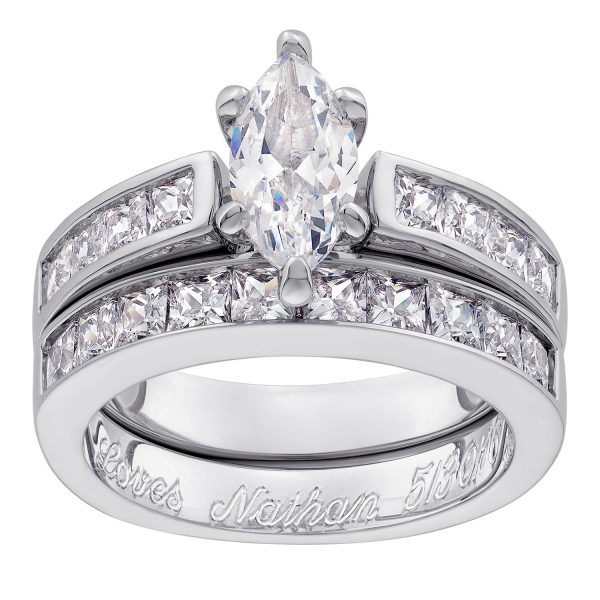 Sterling Silver Marquise CZ 2-Piece Engraved Wedding Ring Set