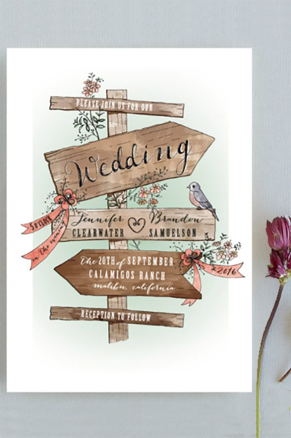 The rustic wood signs and flowers in these wedding invitations make them so special. I am in love! Cute for any type of country or farm / barn wedding. Becky did a wonderful illustration job. Adore her work. This is the first or second by link on the page. Click for more info or to buy the invite and other products in the collection. #RusticThemeWedding #MyOnlineWeddingHelp #RusticWeddingInvitations #WeddingInvitations