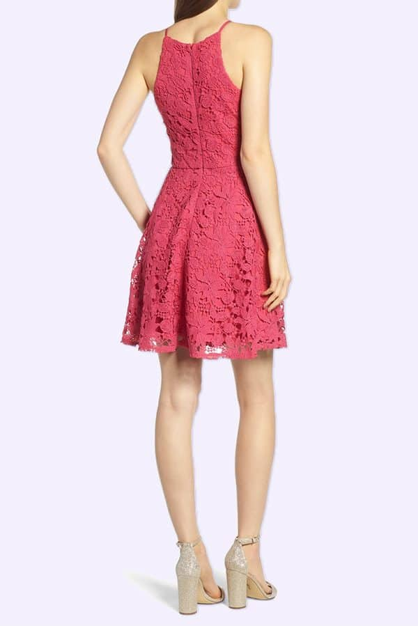 Simple and classy short lace dress. Pink berry or pale purple colors. Buy on My Online Wedding Help Products section.