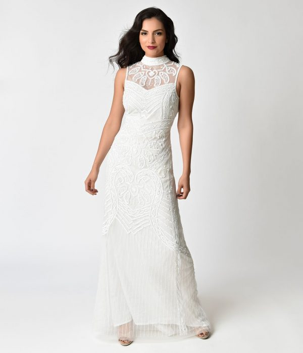 Frock And Frill Ivory Beaded Bibi Bridal Maxi Dress