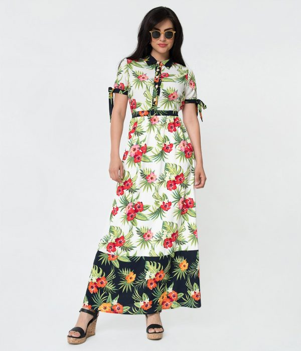 Navy Blue & White Color Block Multicolor Tropical Floral Print Maxi Dress