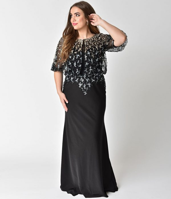 Plus Size Black & Pearl Sequin Embellished Mesh Sleeved Long Dress