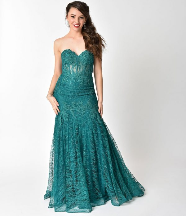 Emerald Teal Sexy Strapless Lace Mermaid Long Dress