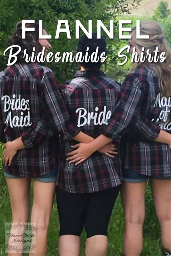 Cool-weather rustic theme wedding idea: flannel bridesmaids shirts. The wedding party can wear them to the bachelorette party, while getting ready for the wedding, and at the casual reception. Ideal for a fall or winter country wedding. Tap the first buy listing on the page for purchase details. #RusticThemeWedding #RusticWeddingIdea #BridesmaidsGiftIdea #BridesmaidsIdea #BrideIdea #MyOnlineWeddingHelp #BridesmaidsShirts #WeddingShirts #FallWeddingIdea #WinterWeddingIdea