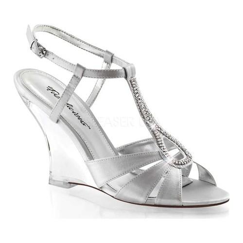 Women's Fabulicious Lovely 420, Size: 8 M, Silver Satin/Clear