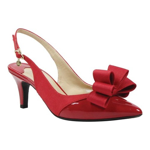 Women's J. Renee Gabino Pointed Toe Slingback, Size: 7.5 M, Red Patent/Red Fabric