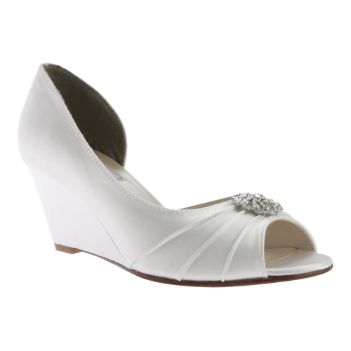 Women's Touch Ups Lee Wedge, Size: 8 M, White Satin