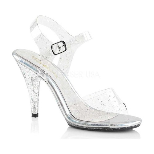 Women's Fabulicious Caress 408MMG Ankle-Strap Sandal, Size: 7 M, Clear PVC/Clear
