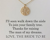 Mother of The Groom Necklace Mother of the Groom Gifts Family Tree, Wedding Gifts, Wedding Jewelry, Mother of the Groom Presents Gold