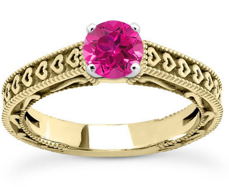 Engraved Heart Band Pink Topaz Ring, 14K Yellow Gold