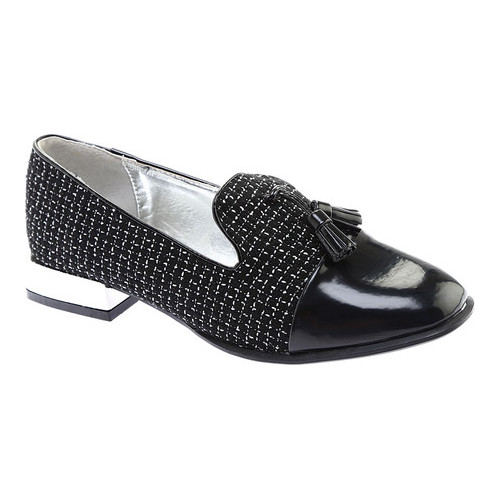 Women's Bellini Bainbridge Tassel Loafer, Size: 9.5 M, Black/White Boucle Fabric