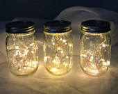 Wedding Centerpiece Lights, 39 inch Fairy Lights, Mason Jar Lights, 10 or 20 Warm White LEDs, Replaceable Batteries. Wedding Decorations.