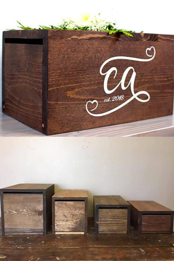Rustic wedding receptions card box. This one comes in your choice of four sizes and five stains. Guests slide the cards into a slot on the end. Tap and look in the first four or five buy listings to buy from the Mintz's. Look for their explanation in the description of how this box prevents stolen cards. In the My Online Wedding Help products section. #RusticWeddingReceptions #RusticCardBoxes #MyOnlineWeddingHelp #RusticWeddingIdeas #RusticWedding #WeddingCardBoxes