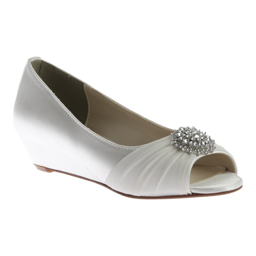 Women's Touch Ups Patience Peep Toe Wedge, Size: 9 M, White Satin