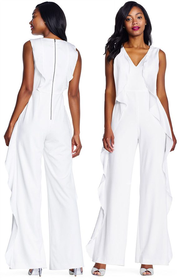 Sleeveless ivory crepe jumpsuit with ruffles. #MyOnlineWeddingHelp