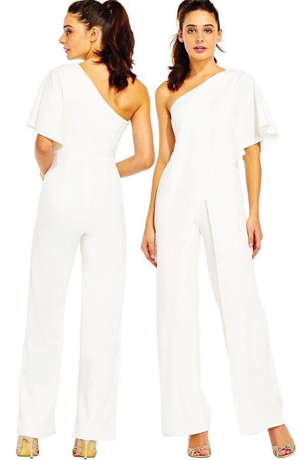 One shoulder ivory jumpsuit with drape sleeve. #MyOnlineWeddingHelp
