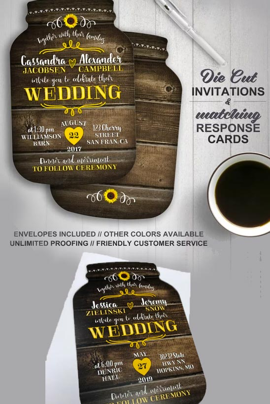 Mason jar wedding invitations for rustic wedding. RSVPs available. $40.00 for 20 invites. Buy in the My Online Wedding Help products section. #MyOnlineWeddingHelp #WeddingInvitations #RusticInvites