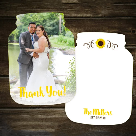 Rustic photo wedding thank you cards shaped like mason jars. $14.00 for 10. Buy in the My Online Wedding Help products section. #MyOnlineWeddingHelp #RusticWedding #RusticThankYou