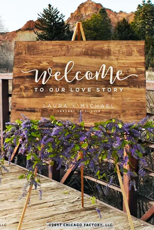 Wooden rustic wedding welcome sign. Perfect for easel. 4 stains and two sizes. $104.50 for 18x36. Buy it in the My Online Wedding Help products section. #MyOnlineWeddingHelp #RusticWedding #WeddingSign