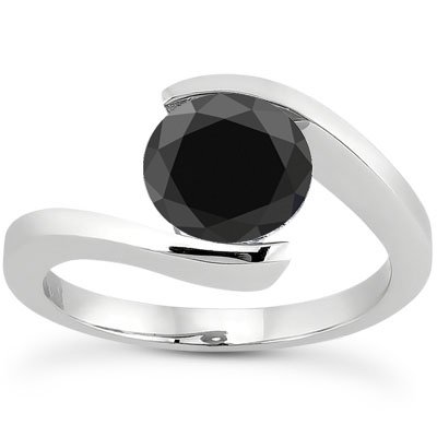 1 Carat Tension Set Black Diamond Engagement Ring