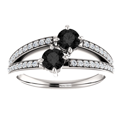 "0.50 Carat ""Only Us"" Black Diamond Engagement Ring in 14K White Gold"