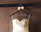 2 DAY SALE Wedding dress hanger, bride gift, Rustic wedding, Rustic chic wedding, chic barn wedding hanger, bride hanger, wooden hanger