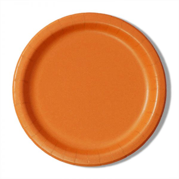 "7"" Orange Paper Lunch Plates - Quantity: 8 - Household Supplies by Paper Mart"