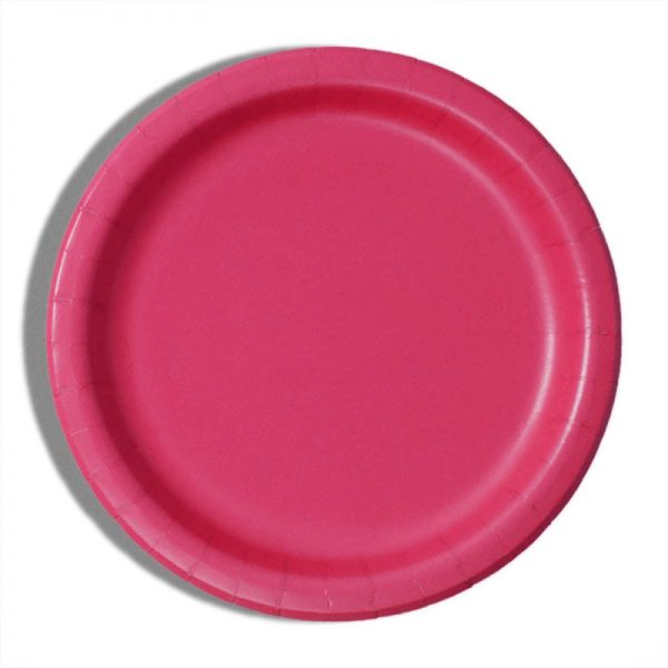 "9"" Hot Magenta Paper Dinner Plates - Quantity: 8 - Household Supplies by Paper Mart"