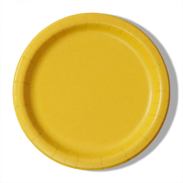 "7"" Yellow Paper Lunch Plates - Quantity: 8 - Household Supplies by Paper Mart"