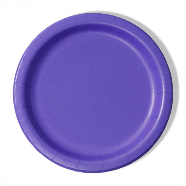 "7"" Purple Paper Lunch Plates - Quantity: 8 - Household Supplies by Paper Mart"