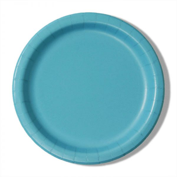 "7"" Bermuda Blue Paper Lunch Plates - Quantity: 8 - Household Supplies by Paper Mart"
