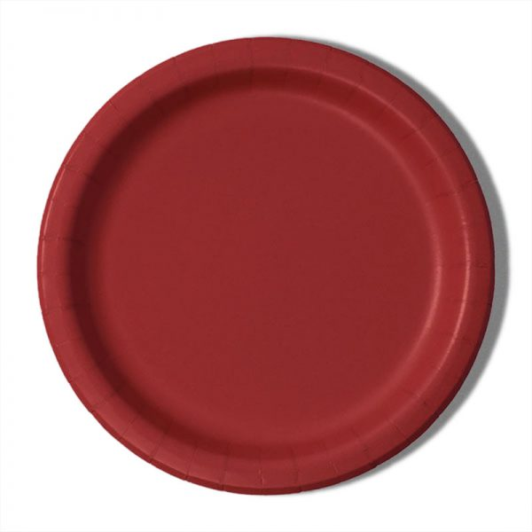 "7"" Red Paper Lunch Plates - Quantity: 8 - Household Supplies by Paper Mart"