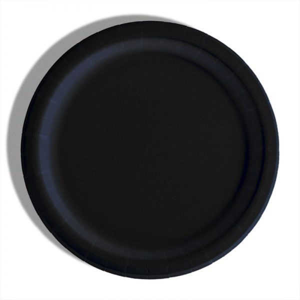 "7"" Black Paper Lunch Plates - Quantity: 8 - Household Supplies by Paper Mart"