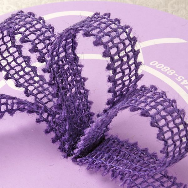 "7/8"" X 25 Yards Mesh Purple Wired Burlap Ribbon by Ribbons.com"