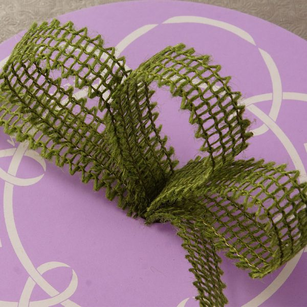 "7/8"" X 25 Yards Mesh Moss Green Wired Burlap Ribbon by Ribbons.com"