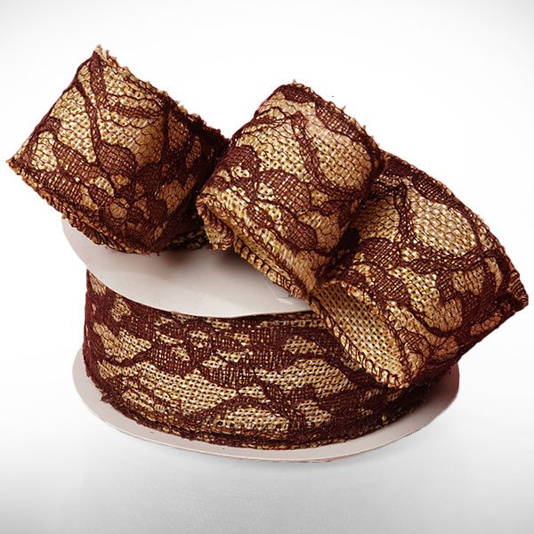 "Brown Floral Lace Burlap Ribbon - 1-1/2"" X 10 Yards - by Paper Mart"