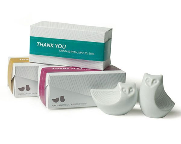 Stylized Owl Salt & Pepper Shakers (Personalized Ribbon Available)
