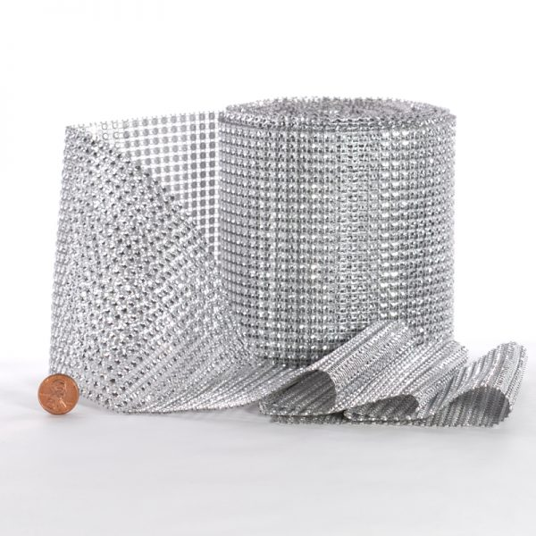 Satin Mesh Rhinestone 4-1/2 X 10 Yards Silver Faux Jewel Diamond Wrap by Ribbons.com