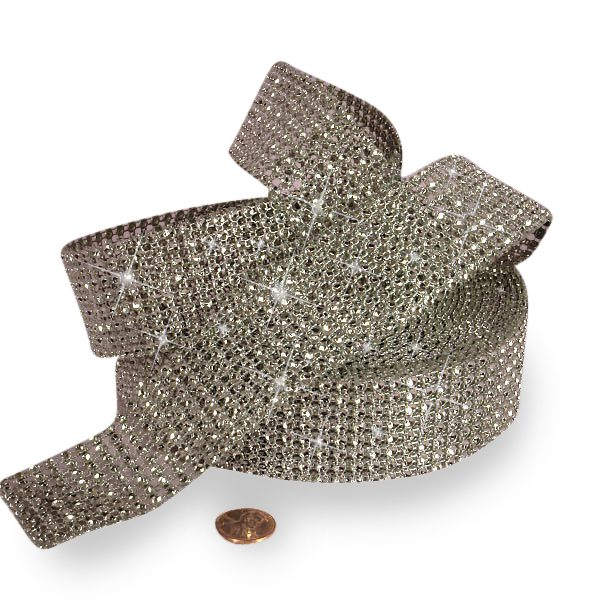 "Mesh Sparkle Rhinestone Silver Jewel Ribbon - 1-1/2"" X 9yd - Cords by Paper Mart"