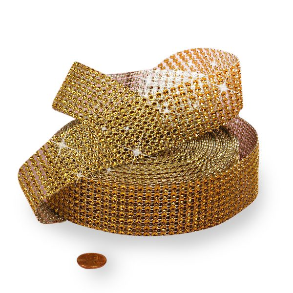 "Mesh Sparkle Rhinestone Gold Jewel Ribbon - 1-1/2"" X 9yd - Cords by Paper Mart"